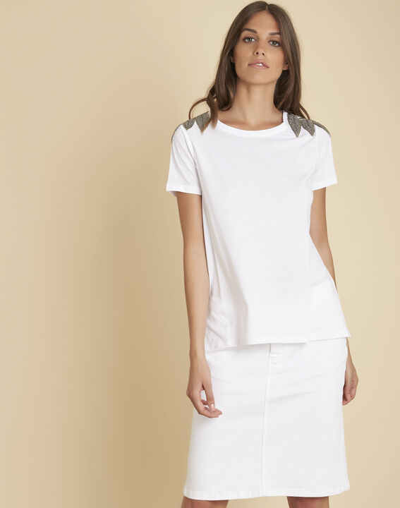 Epique white T-shirt with embroidered detailing on the shoulders (1) - Maison 123