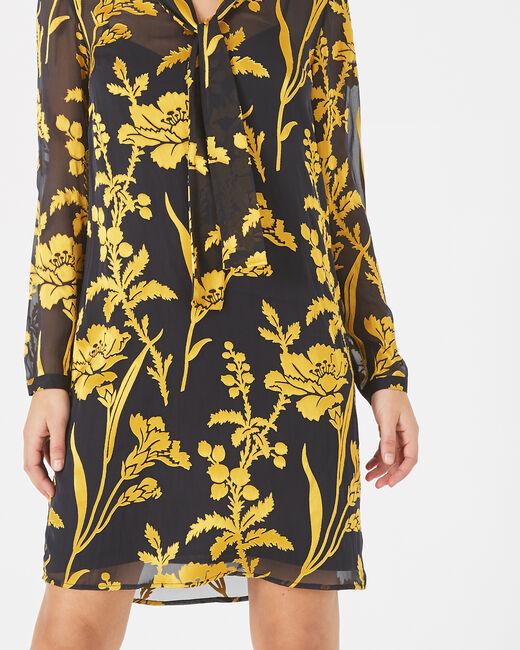 Goldenes Kleid mit Blumenprint und Schluppenkragen Arty (2) - 1-2-3