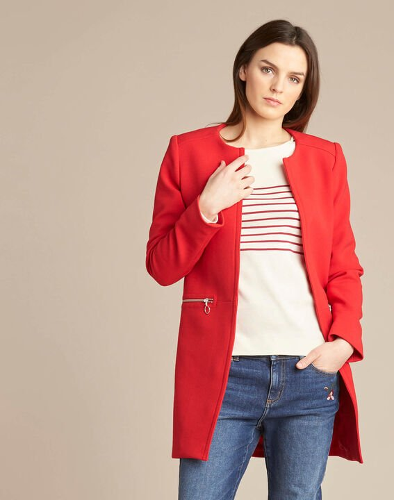 Kaya red straight-cut 3/4 length coat with zip detailing (3) - 1-2-3