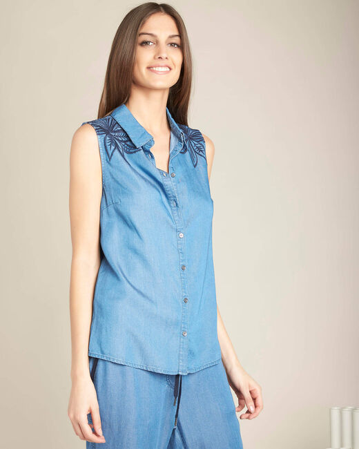 Gaetan denim sleeveless embroidered top (2) - 1-2-3