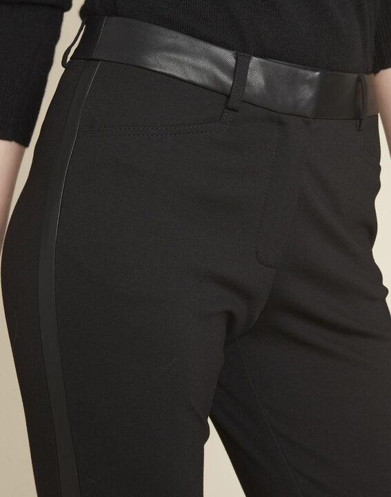 Zwarte milano broek met neplederen band Henax (3) - 37653