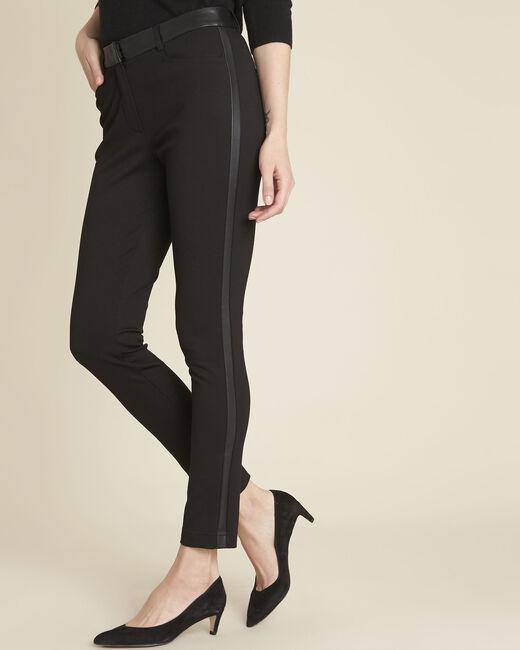 Pantalon noir milano bande faux cuir Henax (2) - 1-2-3