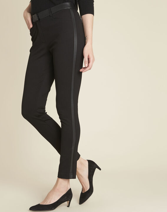 Henax black milano trousers with faux leather band PhotoZ | 1-2-3