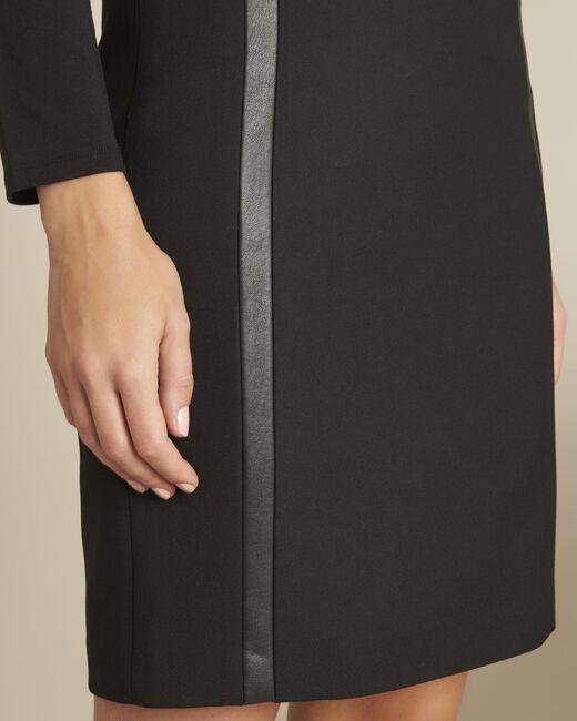 Jupe noire droite compacte détails faux cuir Anna (1) - 1-2-3