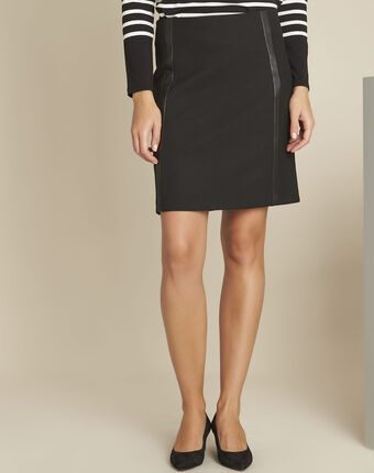 Anna black straight-cut skirt with faux leather detailing black.