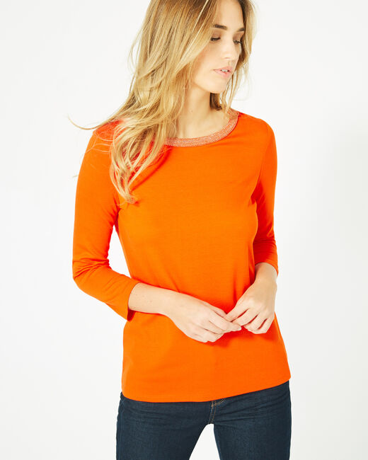 Tee-shirt orange manches 3/4 col rond Billy (1) - 1-2-3