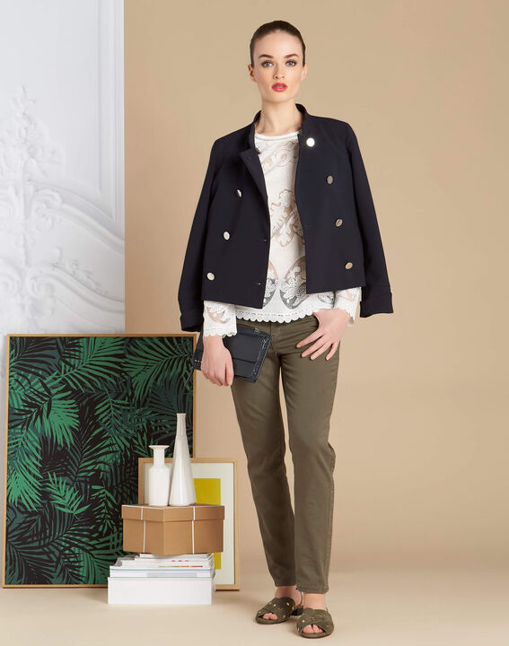 Vendôme 7/8 length khaki jeans with studded detailing (2) - 1-2-3