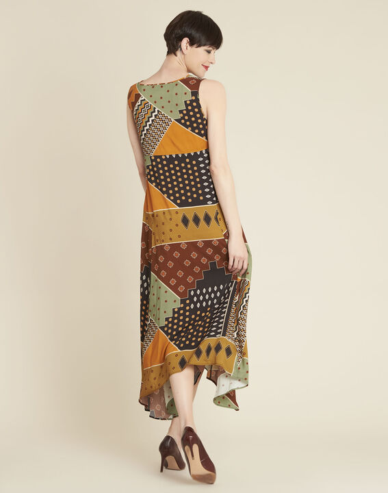 Dulce yellow dress with ethnic print (4) - 1-2-3