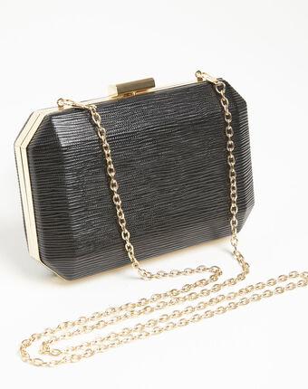 Ilona black clutch bag with silver details black.