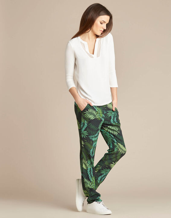 Scotty flowing trousers with leaf print (2) - 1-2-3