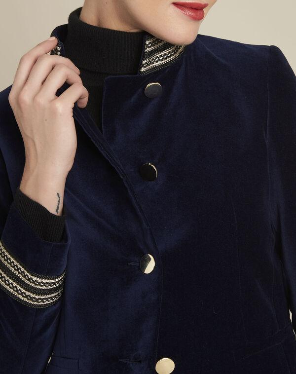 Samana navy velvet officer-style jacket (2) - 1-2-3
