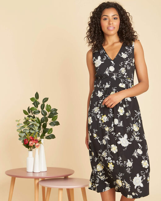 Philomene long black print dress  (1) - 1-2-3
