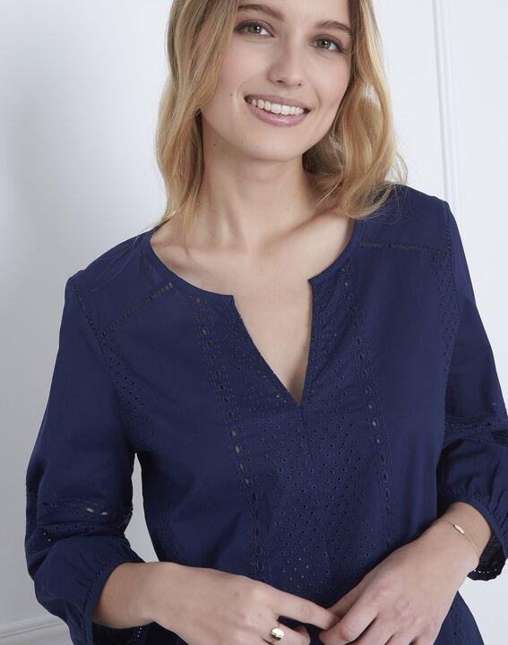 Marineblauwe blouse met Engels borduurwerk Verveine (3) - Maison 123