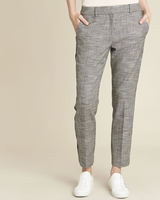 Hansel grey jacquard cigarette trousers with side stripes (2) - 1-2-3