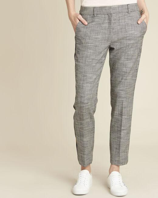 Pantalon gris cigarette jacquard bande côté Hansel (2) - 1-2-3