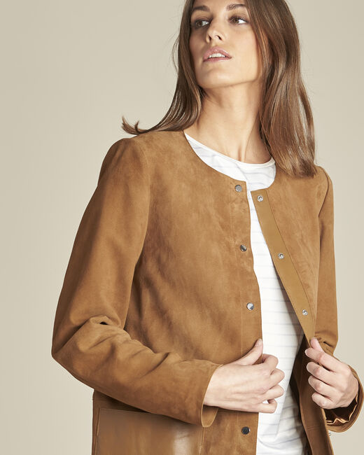 Tamara long suede camel coat with leather detailing (2) - 1-2-3