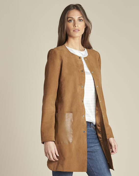 Tamara long suede camel coat with leather detailing PhotoZ | 1-2-3