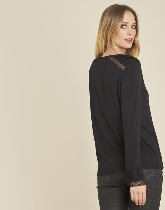 Girl black long-sleeved T-shirt with lace detailing (4) - 1-2-3