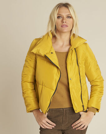 Poline short yellow down jacket with side zip ochre.