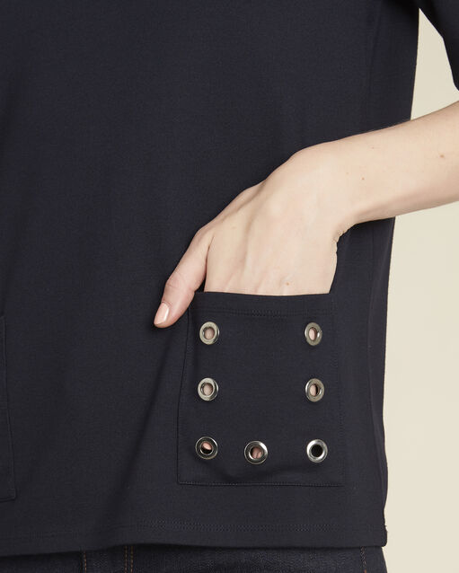 Tee-shirt marine oeillets poches Goeland (2) - 1-2-3