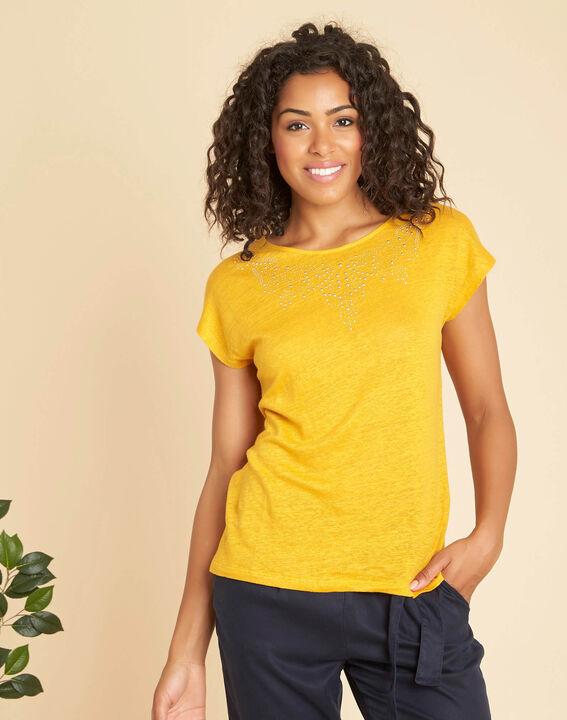 Emireille yellow linen T-shirt with stud motifs  PhotoZ | 1-2-3