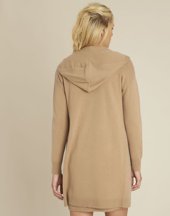 Banquise camel hooded wool cashmere cardigan (4) - 1-2-3