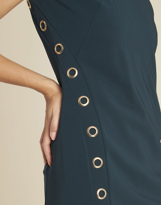 Gerade geschnittenes dunkelgrünes Kleid mit Ösendetails Dora (2) - 1-2-3