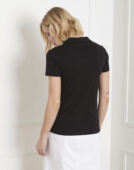 Schwarzes T-Shirt mit Polokragen Prudence (4) - Maison 123