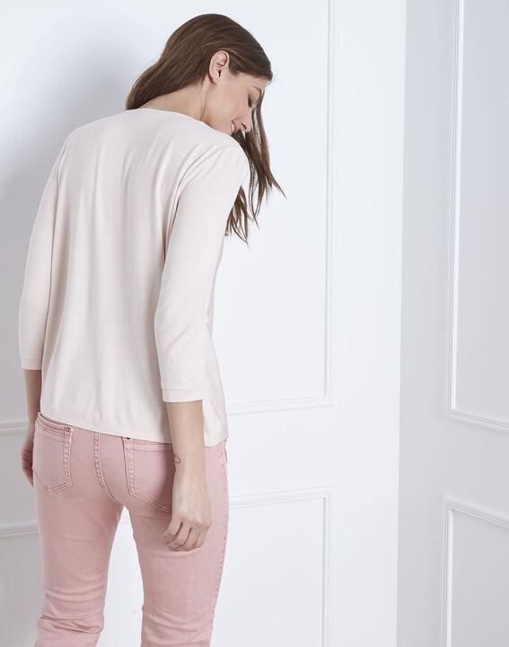 Poederkleurige blouse uit twee materialen met cache-coeur Vanina (4) - Maison 123
