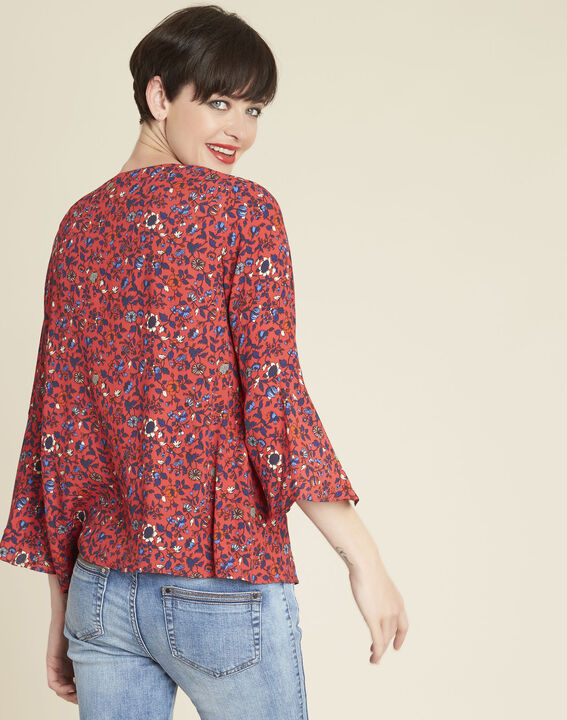 Constance pink floral blouse with laced neckline (4) - 1-2-3