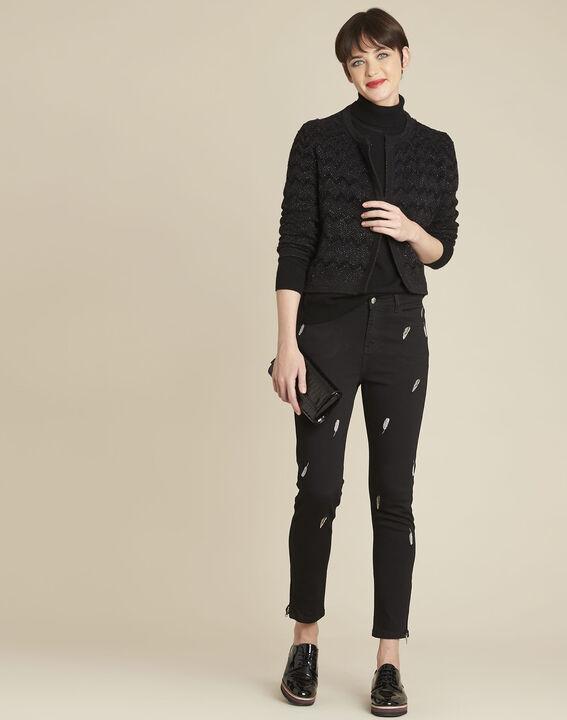 Zwart vest van decoratief tricot Bamel (3) - 37653