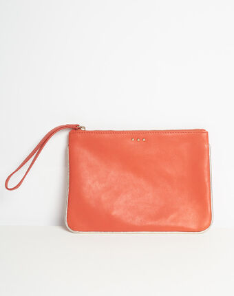 Droopy red clutch with leather straps red.