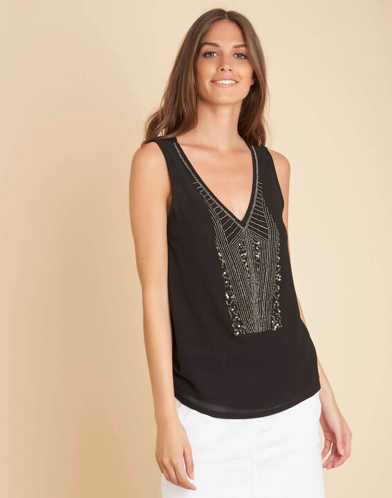 Breeze dual-fabric embroidered black top with beading (3) - 1-2-3