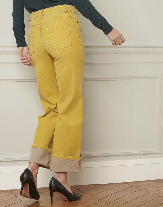 Jean jaune délavé évasé en coton Chica (3) - Maison 123