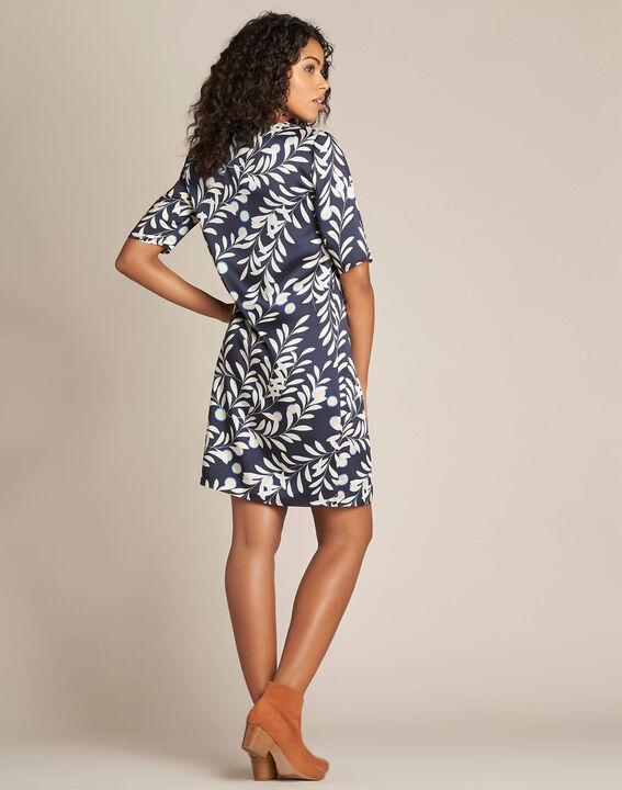 Marineblaues Kleid mit Blätter-Print Power (4) - 1-2-3