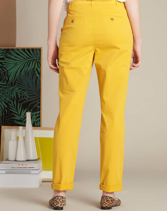 Pantalon jaune chino à revers victoria citron.