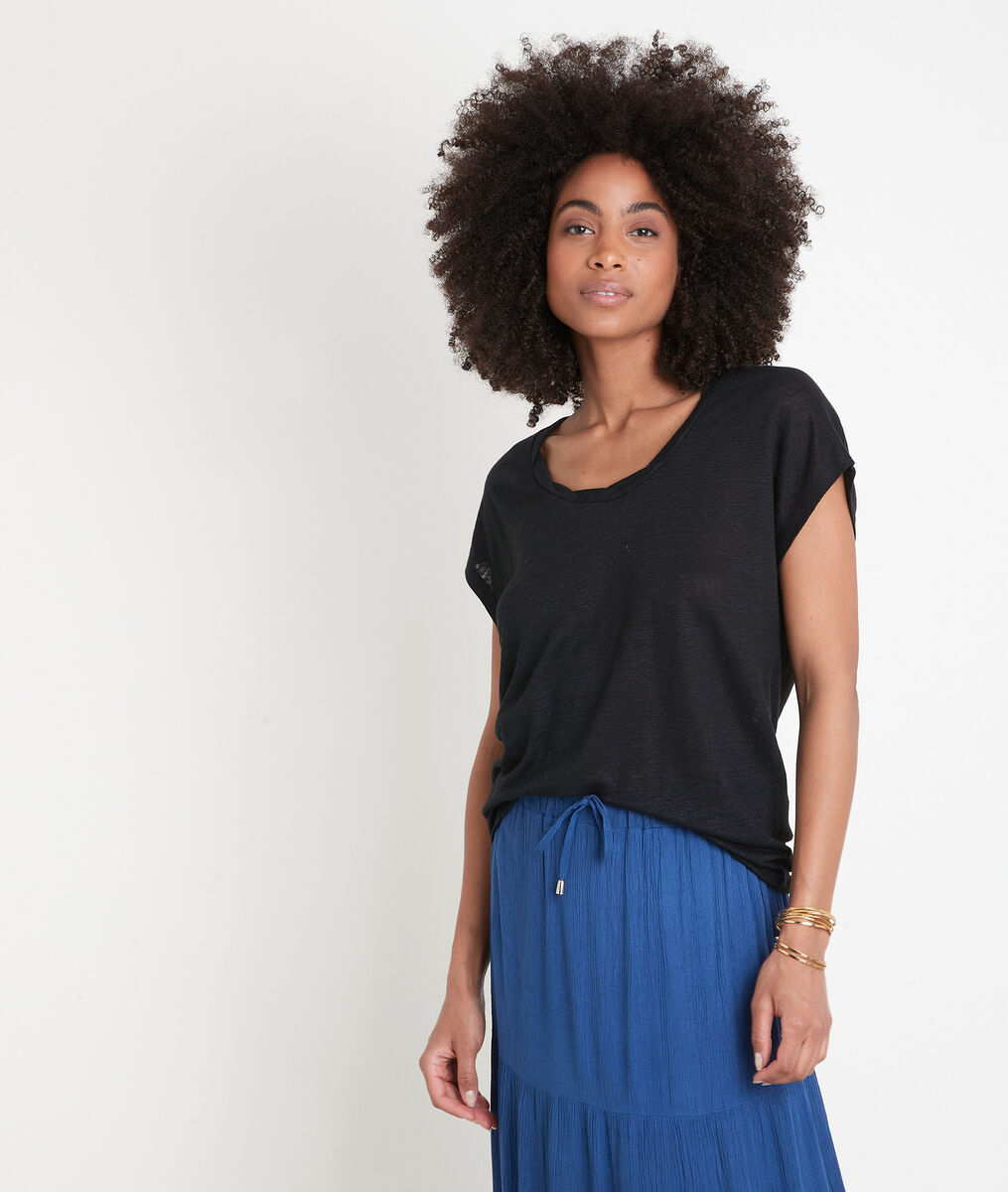 Tee-shirt en lin certifié noir Ecool PhotoZ | 1-2-3