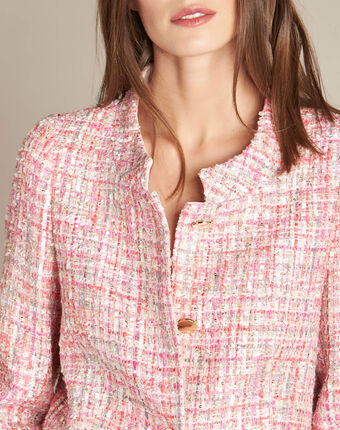 Cookie pale pink jacket with golden buttons light pink.
