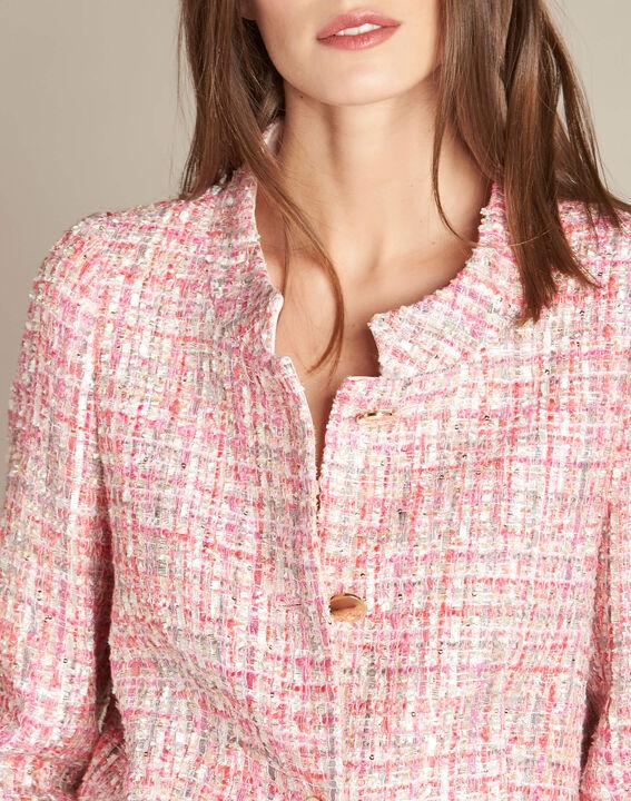 Veste rose pâle en tweed et boutons dorés Cookie (1) - 1-2-3