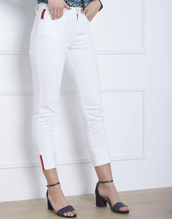 Jean blanc détail gros grain et revers Cassie PhotoZ | 1-2-3