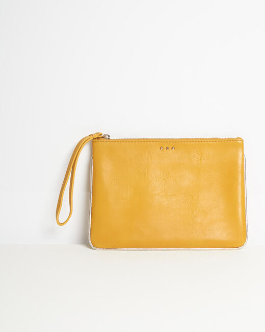 Droopy pale yellow clutch with leather straps (1) - 1-2-3