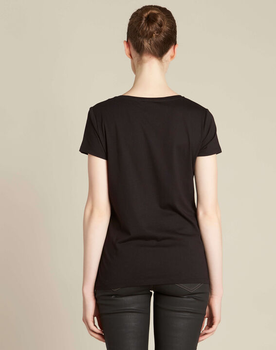 Tee-shirt noir imprimé cadenas Enamorar (4) - 1-2-3