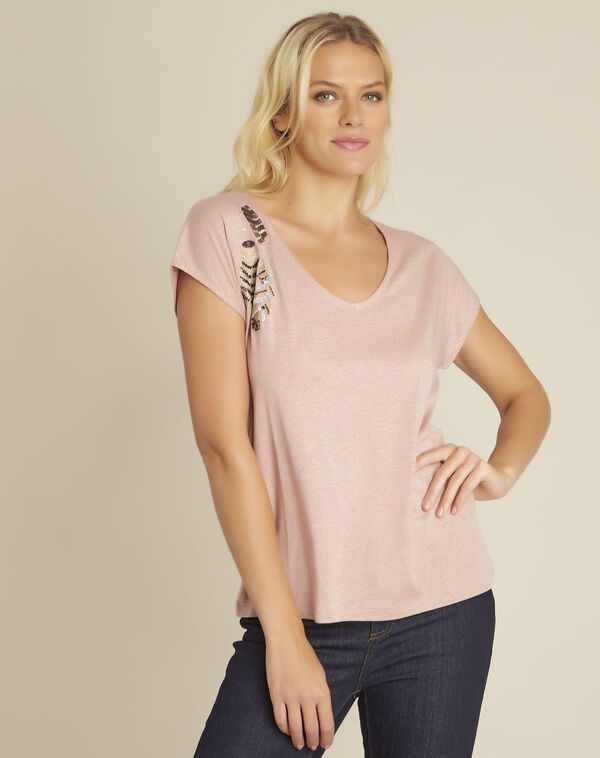 Tee-shirt rose brodé Gapon (1) - 1-2-3