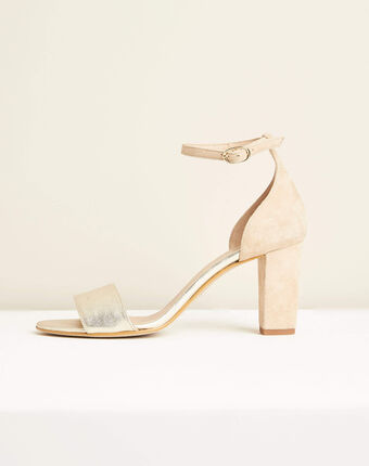 Kris nude leather heeled sandals salmon.