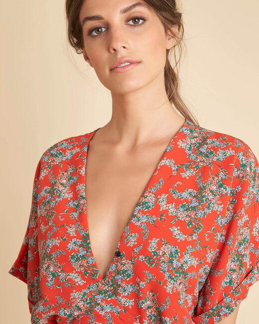 Robe rouge imprimé fleuri Patience (2) - 1-2-3