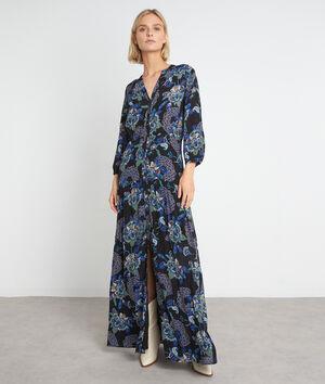 Robe chemise longue à l'imprimé floral bleu Sia