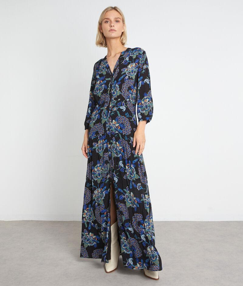 Robe chemise longue à l'imprimé floral bleu Sia PhotoZ | 1-2-3