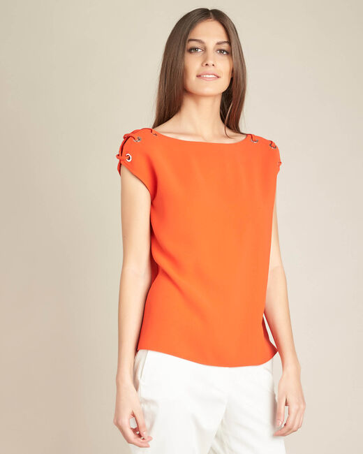 Germina orange blouse with eyelets and laces (2) - 1-2-3