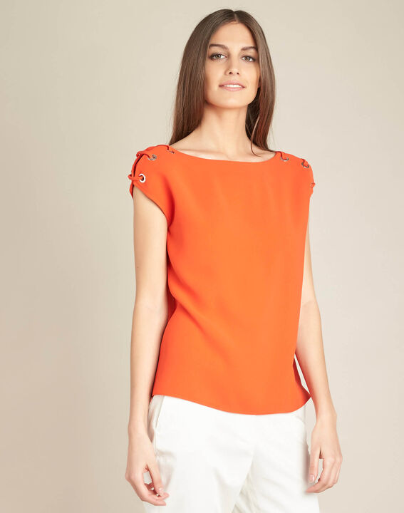 Germina orange blouse with eyelets and laces (3) - 1-2-3