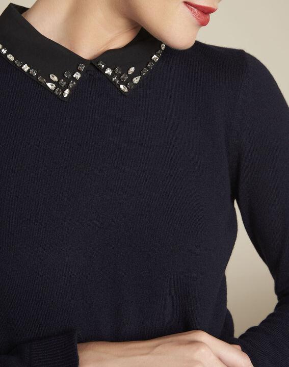 Bijoux navy wool pullover with Peter Pan jewel collar (3) - 1-2-3